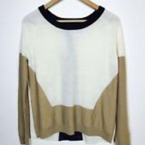 AIKO merino wool sweater with Leather trim